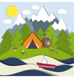 Picnic on the shore of a mountain lake vector image