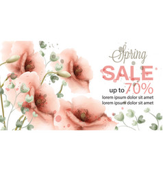 pink poppy spring card watercolor sale vector image