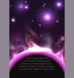 planet in space with stars and place for text vector image