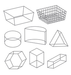 Polygon wireframe geometric shape line icon vector
