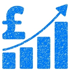 Pound Sales Growth Chart Grainy Texture Icon vector