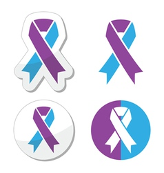 Purple and blue ribbon - pediatric strokes vector image