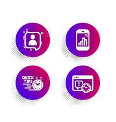 Quick tips developers chat and graph phone icons vector