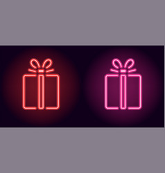 Red and pink neon gift box vector