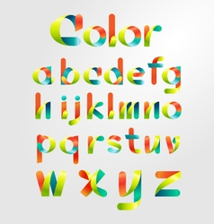 Ribbon alphabet colorful font vector