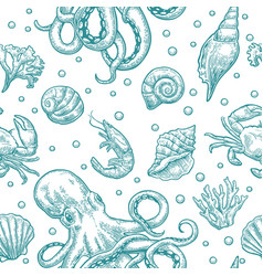 Seamless pattern sea shell coral crab octopus vector