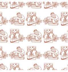 Seamless pattern with a slice of cake with cream vector