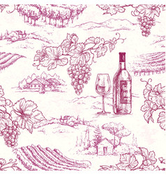 Seamless pattern with grape branches and vineyards vector