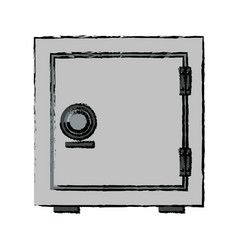 Security concept with metal closed box bank safe vector