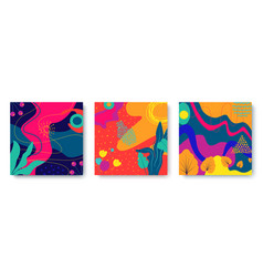 set bright abstract cards with tropical leaves vector image