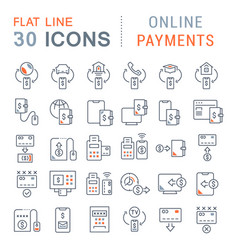 Set line icons online payments vector