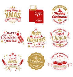 set merry christmas and happy chinese new year vector image
