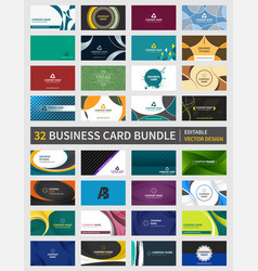 set of 32 creative business card bundle design vector image