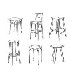Set of hand drawn stools vector