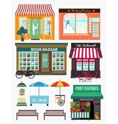 Shops and vitrine elements Seamless pattern with vector image