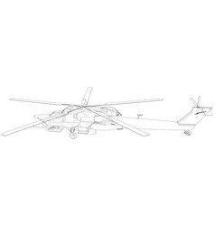 silhouette of military helicopter created vector image