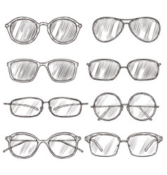 sketch sunglasses hand drawn eyeglass frames vector image
