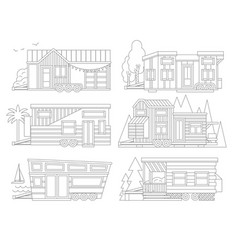 Small tiny houses modern mobile trailers vector
