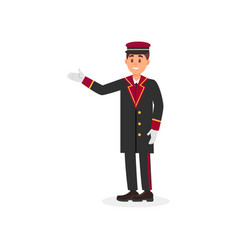 Smiling hotel doorman in uniform coat cap and vector