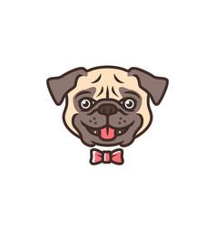 smiling pug dog smile cartoon logo mascot vector image