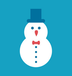 Snowman icon cylindrical hat with bow and buttons vector
