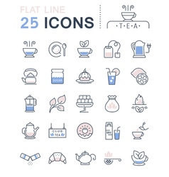 Tea Line Icons 3 vector image