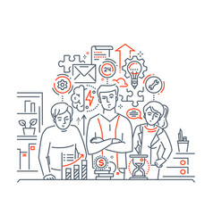 team work - modern line design style vector image
