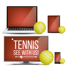 tennis application court tennis ball vector image