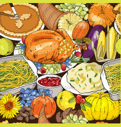thanksgiving autumn seamless pattern with vector image