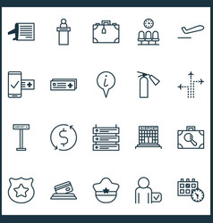 Traveling icons set includes icons such as vector