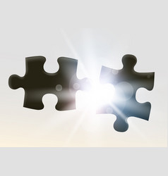 Two joining jigsaw puzzle piece symbol of vector