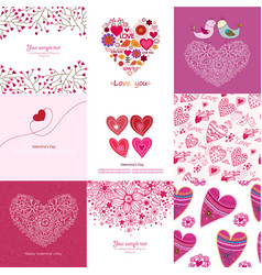 valentines day set - greeting cards love vector image