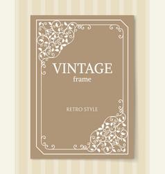 vintage frame retro style engraving baroque border vector image
