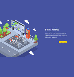 Web banner with bicycles available for rent parked vector