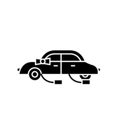 wedding car black icon sign on isolated vector image