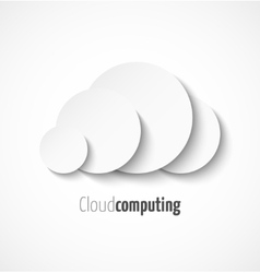 White paper cloud computing logo template icon vector image
