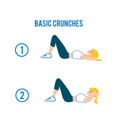 woman doing crunches in gym flat cartoon vector image