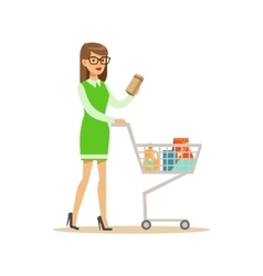 Woman In Green Dress With Cart Shopping In vector image