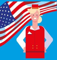 Woman stewardess with flag usa vector