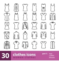 Women clothes icons - tops t-shirts blouses vector