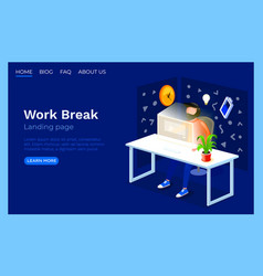 work process office room landing page website vector image