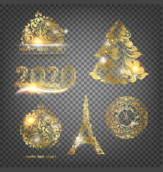 xmas elements collection merry christmas label vector image