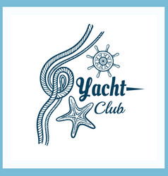 Yacht club badge with starfish vector