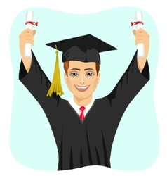 Young male student holding two diplomas vector