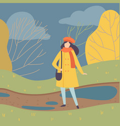 young woman wearing warm clothes standing on vector image