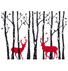 Birch tree forest with deers vector