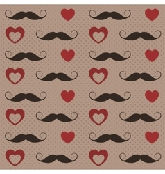 Pattern with mustaches and hearts vector image vector image