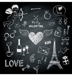Valentines day symbols vector image vector image