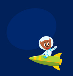 Cute little teddy bear astronaut spaceman vector