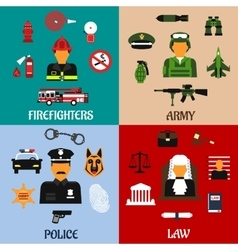 Fireman soldier judge and policeman icons vector image vector image